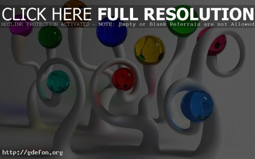 Обои шарики прозрачные разноцветные