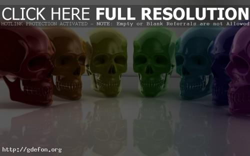 Обои Цветные черепа фото картики заставки
