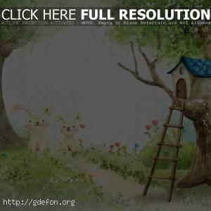 Рисунок, домик, лес, зайцы