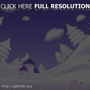 Зима, елки, снег, рисунок