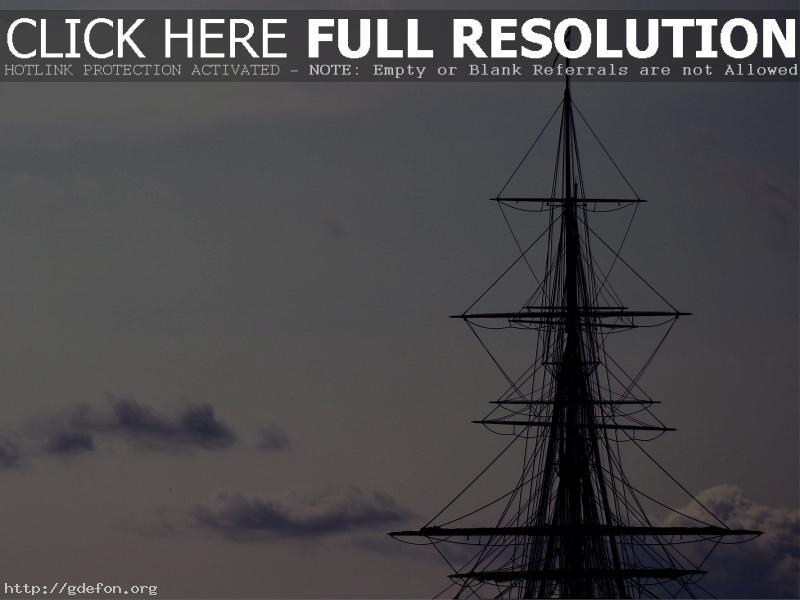 Обои Корабль, мачта, облака фото картики заставки