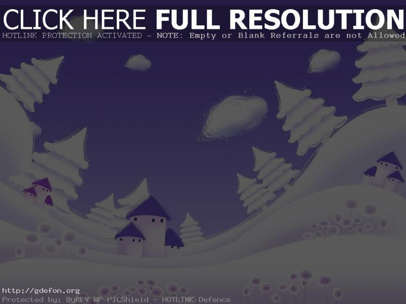Обои Зима, елки, снег, рисунок фото картики заставки