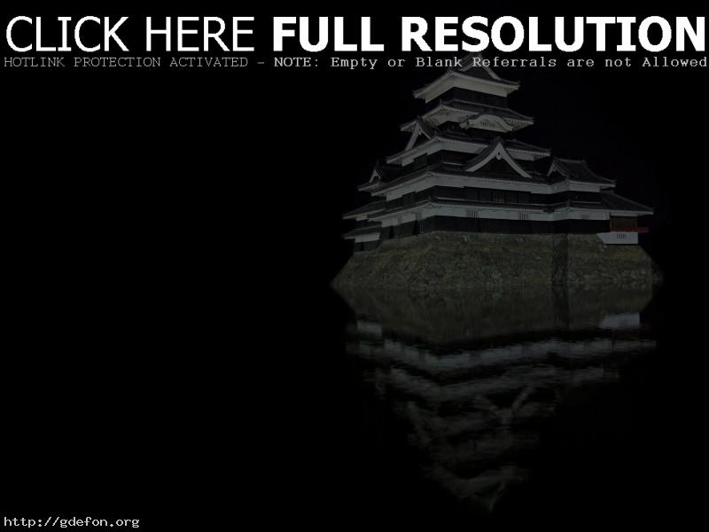 Обои Замок Мацумото ночью фото картики заставки