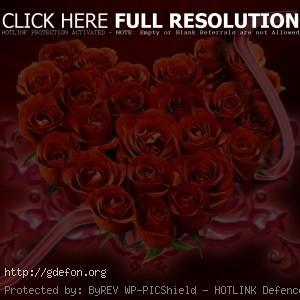 Букет из красных роз в виде сердца