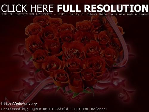 Обои Букет из красных роз в виде сердца фото картики заставки