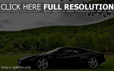 Обои Черный Ferrari фото картики заставки