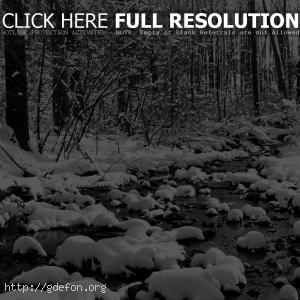 Зима, снег, ручей