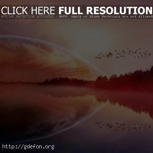 Планета, птицы, озеро