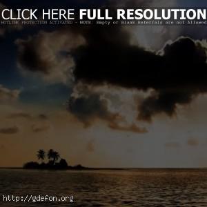 Океан, остров, закат, облака
