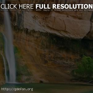 Водопад, скала, деревья