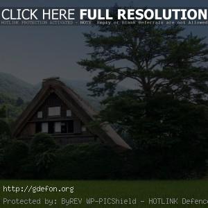 Природа, домик, дерево, зелень, горы