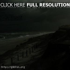 Волны, берег, буря, шторм