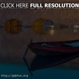 Лодка, канал, вода, мост, вечер