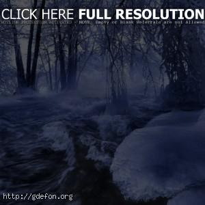 Зима, река, лед, деревья