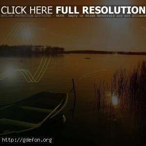Лодка, озеро, солнце