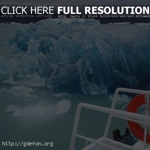 Лед, айсберг, корабль, океан