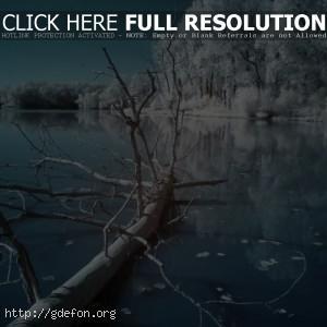 Зима, ночь, озеро, холод