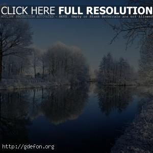Зима, река, деревья, иней, снег