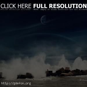 море, камни, вода, луна