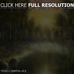 Закат, радиация, болото