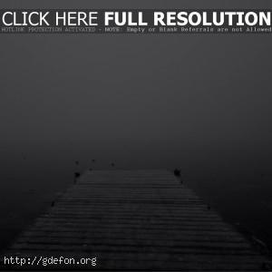 Вода, пирс, туман, озеро