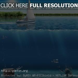 Вода, дно, лодка, сундук