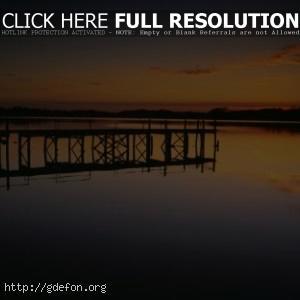 Природа, пейзаж, река, вечер, закат, пирс, берег