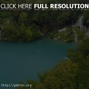 озеро, вода, водопады, деревья