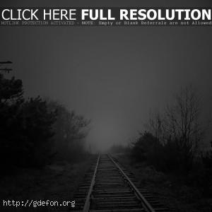 железная дорога, туман, черно-белое