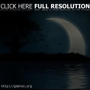 Луна, вода, ночь, остров