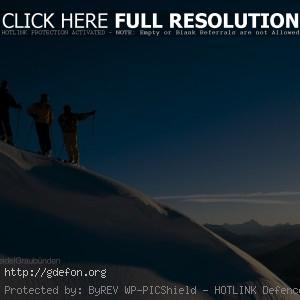 Лыжники, горы, снег