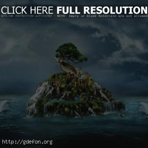 Остров, водопад, дерево