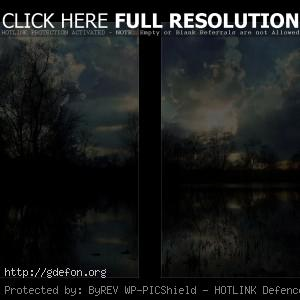 облака, деревья, небо