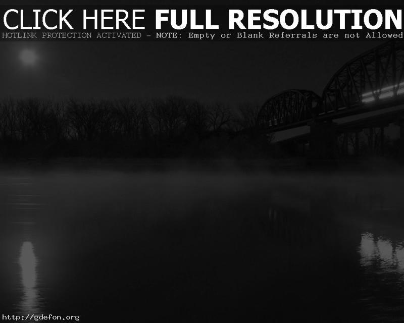 Обои Мост, туман, ночь, черно-белое фото картики заставки