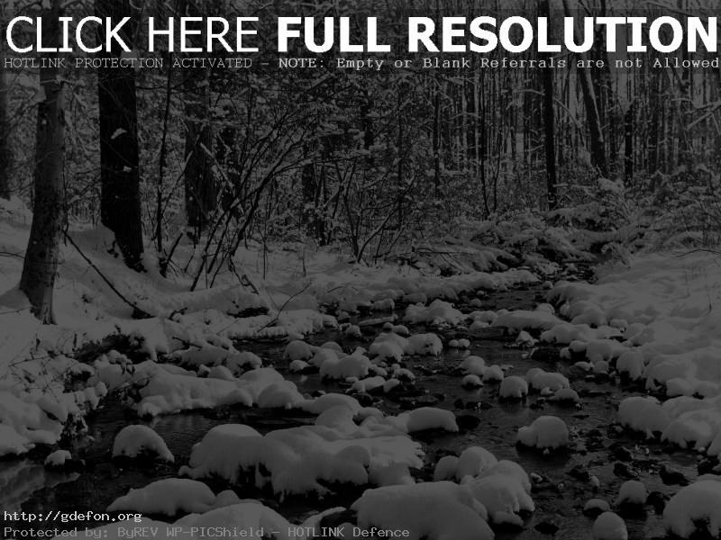 Обои Зима, снег, ручей фото картики заставки