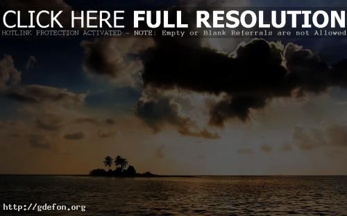 Обои Океан, остров, закат, облака фото картики заставки