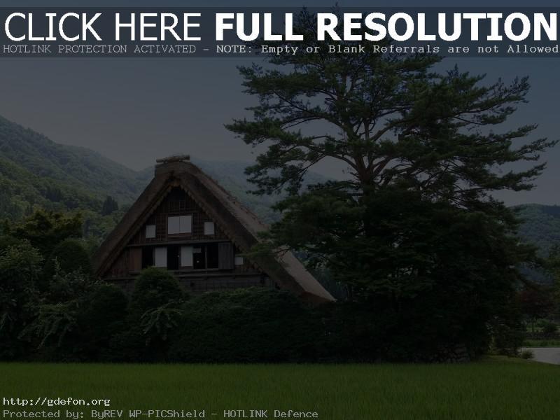 Обои Природа, домик, дерево, зелень, горы фото картики заставки