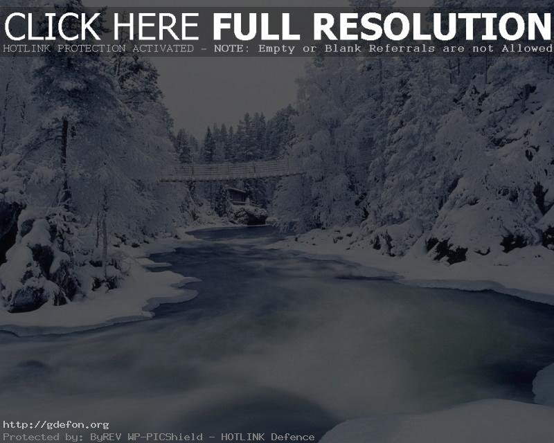 Обои Зима, снег, деревья, иней, река, мост фото картики заставки