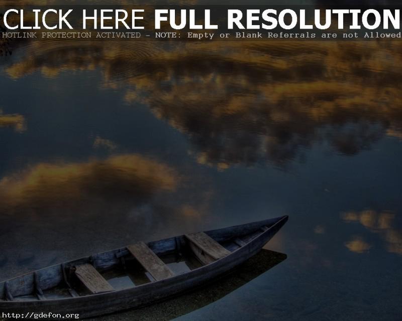 Обои Лодка, отражение, озеро фото картики заставки