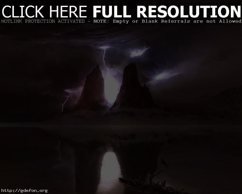 Обои Молнии, горы, отражение фото картики заставки