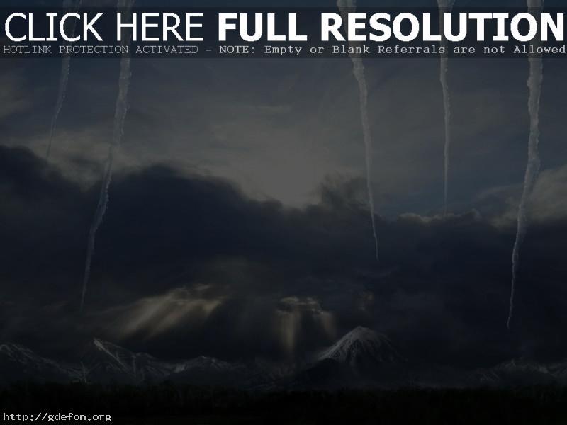 Обои Сосульки, небо, зима, горы фото картики заставки