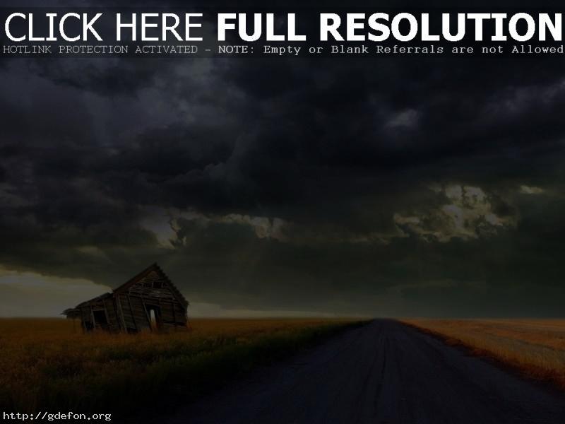 Обои Дорога, буря, сарай фото картики заставки