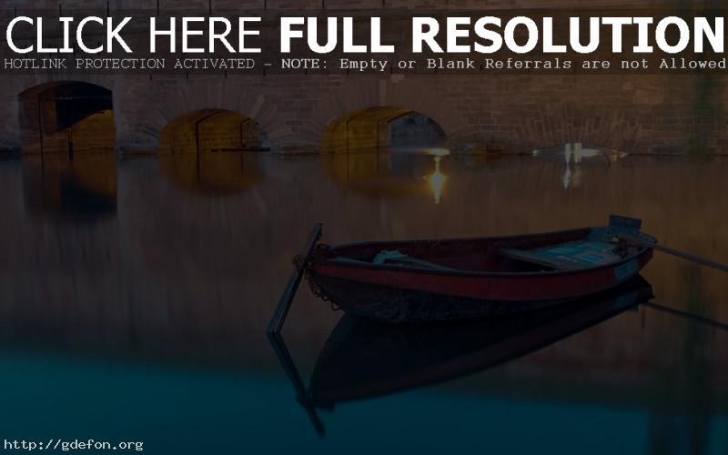 Обои Лодка, канал, вода, мост, вечер фото картики заставки