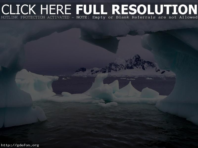 Обои Лед, скалы, океан фото картики заставки