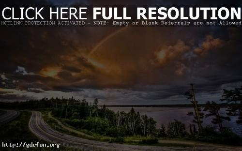 Обои Дорога, деревья, облака, радуга фото картики заставки