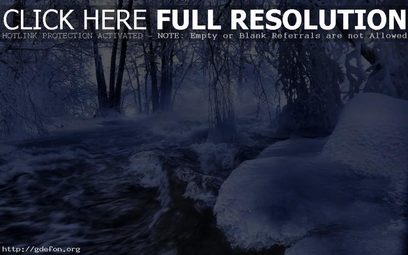 Обои Зима, река, лед, деревья фото картики заставки