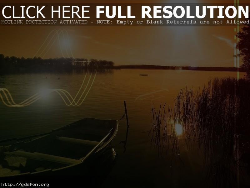 Обои Лодка, озеро, солнце фото картики заставки