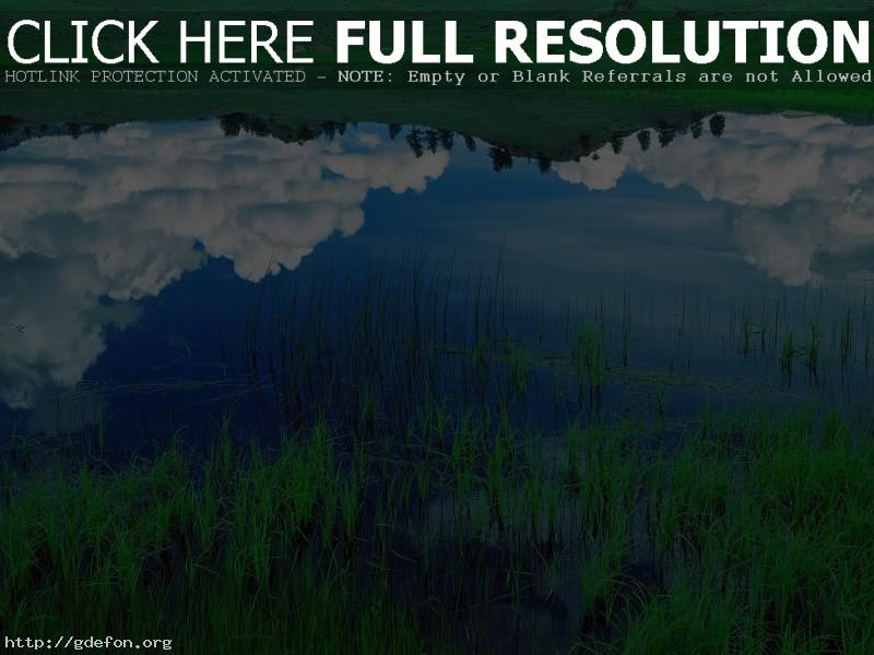Обои Облака, отражение, озеро, трава фото картики заставки