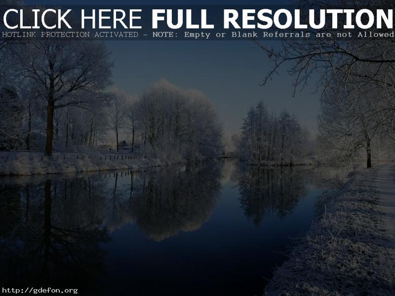 Обои Зима, река, деревья, иней, снег фото картики заставки