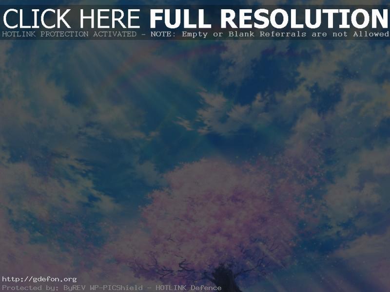 Обои Рисунок, сакура, облака, небо, ветер фото картики заставки